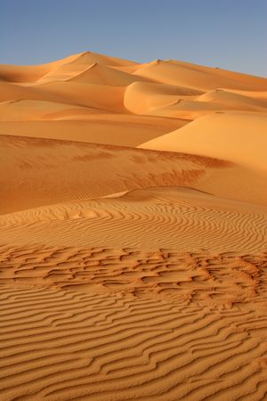Abstract patterns in the dunes of the Rub al Khali or Empty Quarter. Straddling Oman, Saudi Arabia, the UAE and Yemen, this is the largest sand desert in the world. photo