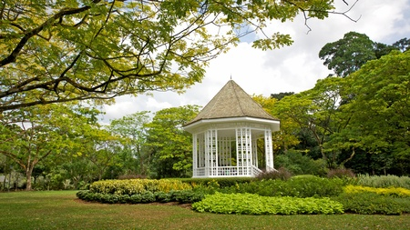 A gazebo known as The Bandstand in Singapore Botanic Gardens. Music performances took place here in the 1930s.