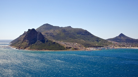 chapmans: The Sentinel guarding the entrance to Hout Bay and its harbor, Cape Peninsula, South Africa. Stock Photo