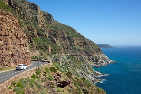 Chapmans Peak Drive, with Kommetjie in the background, South Africa. Stock Photo