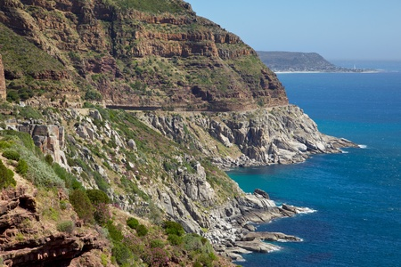 chapmans: Chapmans Peak Drive, with Kommetjie in the background, South Africa. Stock Photo