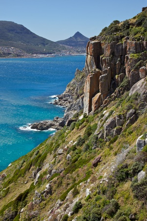 chapmans: A view from Chapmans Peak Drive, with Hout Bay in the background, South Africa. Stock Photo