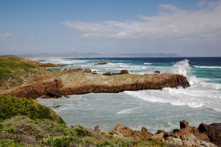 Langbaai (Long Bay) Beach in the tourist centre of Hermanus, Western Cape, South Africa. photo