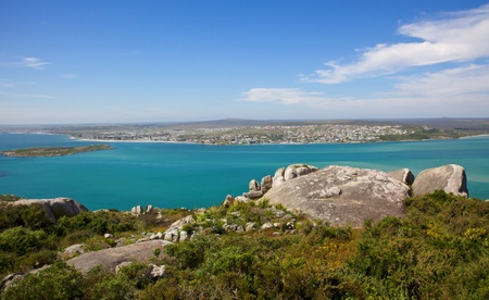 Langebaan Lagoon and the town of Langebaan seen from the West Coast National Park, Western Cape, South Africa. Stock Photo