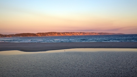 denmark: Wilson Inlet and Ocean Beach at the town of Denmark in Western Australia. Stock Photo