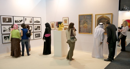 DUBAI - JANUARY 18: Visitors at Art Dubai, the leading and largest art fair in the Middle East. Despite political unrest, galleries are reporting strong sales and a growing interest in Middle Eastern Art and this years fair will be held from March 21-24.