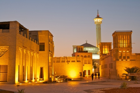 The old merchant quarter of Bastakiya in Dubai, United Arab Emirates.