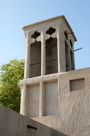 windtower: A windtower in the old merchant quarter of Bastakiya in Dubai, United Arab Emirates.