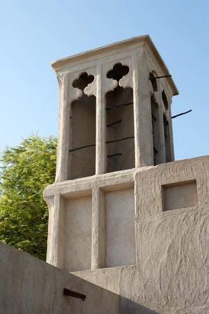 old quarter: A windtower in the old merchant quarter of Bastakiya in Dubai, United Arab Emirates.
