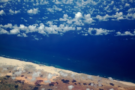 somalian: An aerial view of the Somalian coastline near Mogadishu – an area frequented by modern-day pirates. Stock Photo