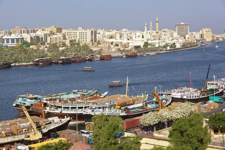 bur dubai: Dubai Creek with the historic district of Bastakiya on the opposite (Bur Dubai) bank Stock Photo