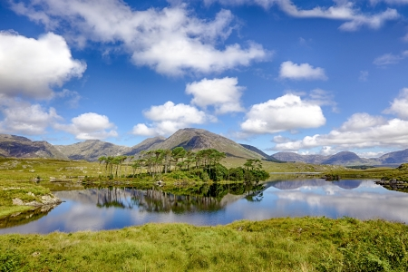 A mountainous landscape reflected in Derryclare Lough, in the Inagh Valley, County Galway, Ireland.