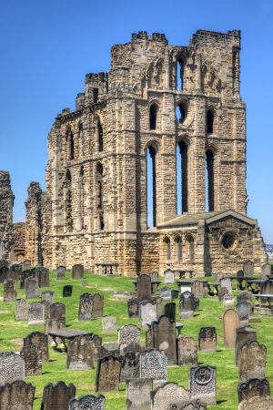 priory: Tynemouth, UK, May 28, 2012 - Tynemouth Priory on the coast of North-East England on May 28, 2012. Once one of the largest fortified areas in England, this ancient building and the adjacent castle overlook the North Sea and the River Tyne.