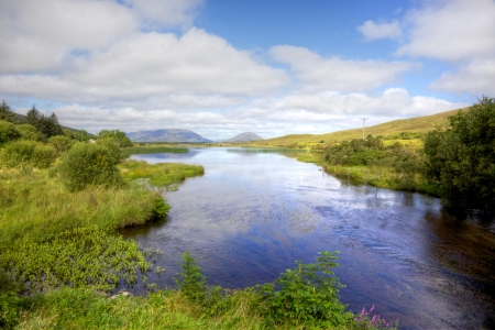 connemara: View from the Quiet Man Bridge in County Galway, Ireland. The historic stone bridge featured in the 1950s film, The Quiet Man.
