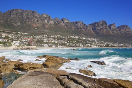 Camps Bay Beach in Cape Town, South Africa, with the Twelve Apostles in the back ground.