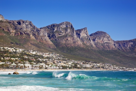 Camps Bay Beach in Cape Town, South Africa, with the Twelve Apostles in the background. Stock Photo