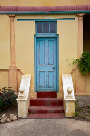 The Front Door To A Traditional Tin Roofed Cottage In The Town Of Greyton,