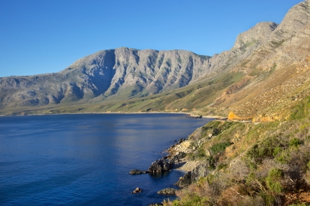 A view of False Bay from scenic Clarence Drive (the R44), between Gordons Bay and Rooiels in the Western Cape, South Africa