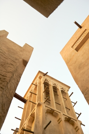 Windtowers in the old merchant quarter of Bastakiya in Dubai, in the United Arab Emirates. Stock Photo - 19044717