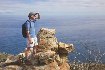 A hiker pauses along the Chapman