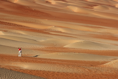 Photographing abstract patterns in the dunes of the Rub al Khali or Empty Quarter  Straddling Oman, Saudi Arabia, the UAE and Yemen, this is the largest sand desert in the world  photo