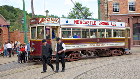 durham: A tram in the high street of the Edwardian town that forms part of Beamish Museum in County Durham, England   Editorial