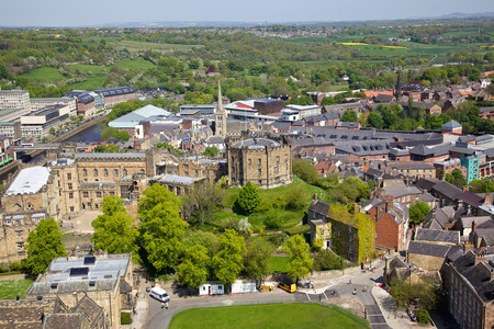 norman castle: An aerial view of Durham Castle, a Norman castle in the city of Durham, England, which has been wholly occupied since 1840 by University College, Durham  The castle and nearby cathedral are a World Heritage Site  Editorial