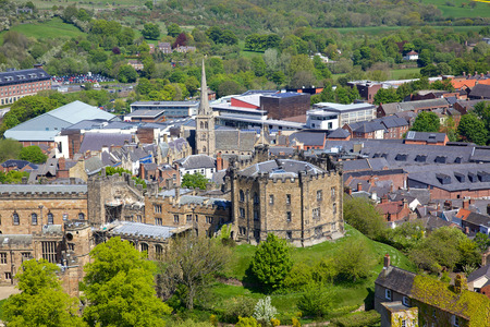 An aerial view of Durham Castle, a Norman castle in the city of Durham, England, which has been wholly occupied since 1840 by University College, Durham  The castle and nearby cathedral are a World Heritage Site  Editorial