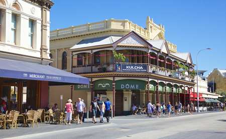 Shoppers and tourists in Fremantle s Cappuccino Strip , an area in Western Australia jam-packed with lively restaurants, historical pubs, small funky bars and micro breweries that brim with patrons from across the globe