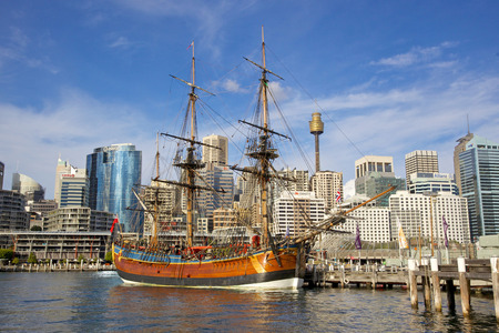 A replica of James Cook s HMS Endeavour, moored alongside the Australian National Maritime Museum in Darling Harbour, Sydney, is one of the world s most accurate maritime reproductions   Editorial