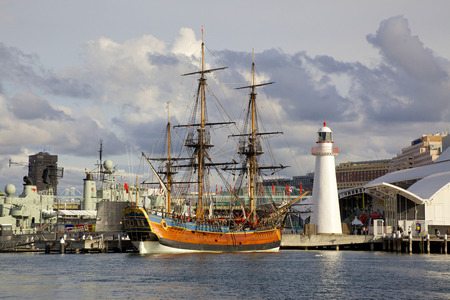 hms: A replica of James Cook s HMS Endeavour, moored alongside the Australian National Maritime Museum in Darling Harbour, Sydney, is one of the world s most accurate maritime reproductions   Editorial