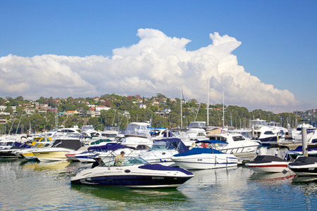 beach cruiser: An assortment of pleasure craft moored in Middle Harbour in Sydney, New South Wales  Editorial