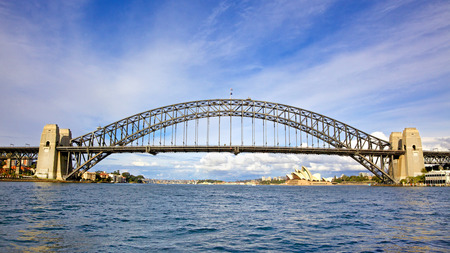 Sydney Harbour Bridge, a steel arch bridge across Sydney Harbour, with the iconic Sydney Opera House in New South Wales, Australia  Editorial