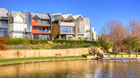 Early in the morning at Subiaco Mere with a backdrop of contemporary residences, in the trendy suburb of Subiaco in Perth, Western Australia