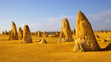The Pinnacles, seen here like soldiers advancing into battle, are limestone formations contained within Nambung National Park, near the town of Cervantes in Western Australia
