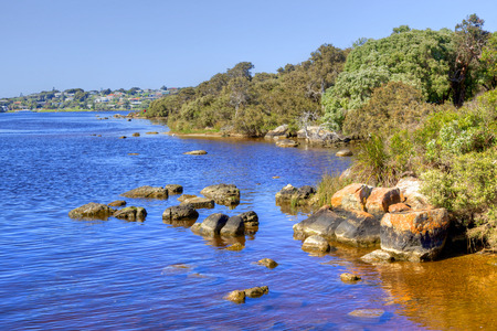 augusta: The Blackwood River with the town of Augusta in the background. Augusta is situated near the south-western tip of Australia in Western Australia.