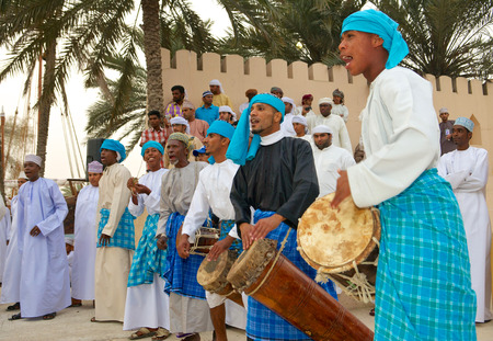 muscat: Omani musicians providing music for a tribal dance in Muscat, in the Sultanate of Oman.