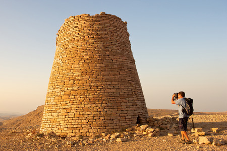 stonemasonry: The Beehive Tombs of Bat in Oman are among the most unique ensemble of 40005000 yearold burial monuments towers and remains of settlement in the Arabian Peninsula.  Stock Photo