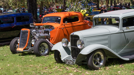 perry: Australian Hot Rods on display in the open air at Perry Lakes in Perth, Western Australia.