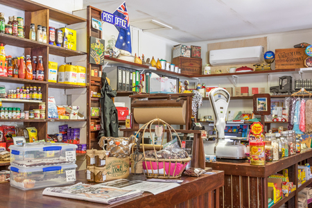quaint: ROSA BROOK, AUSTRALIA - APRIL 5, 2016: The colorful interior of Darnells General Store in Rosa Brook, in the Margaret River area of Western Australia, is a nostalgic and quaint reminder of the past. Editorial