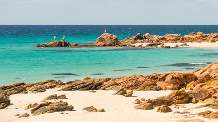 potentially: Meelup Beach near the town of Dunsborough in Western Australia. This is a coastline frequented by potentially dangerous sharks. Stock Photo