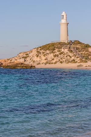 pinky: Pinky Beach and Bathurst Lighthouse at Rottnest Island, near Perth in Western Australia. Stock Photo