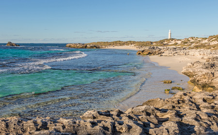 pinky: The Basin, Pinky Beach and Bathurst Lighthouse at Rottnest Island, near Perth in Western Australia.