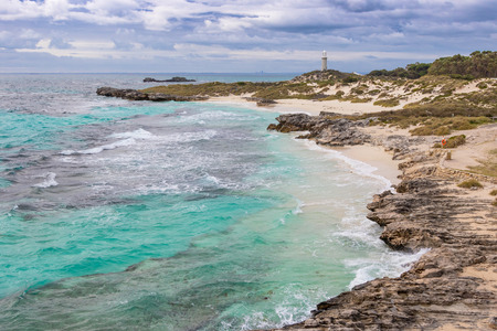 pinky: Cloudy skies over The Basin, Pinky Beach and Bathurst Lighthouse at Rottnest Island, near Perth in Western Australia.