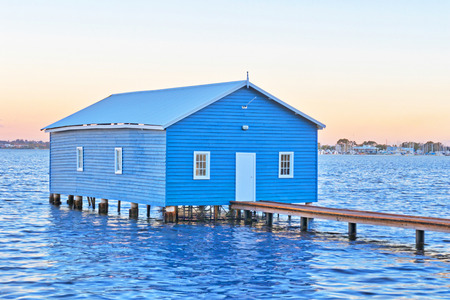 refurbished: The Crawley Edge Boatshed is a well-recognized and frequently photographed site in Perth. It is thought to have been constructed in the early 1930s and has since been refurbished. HDR image.