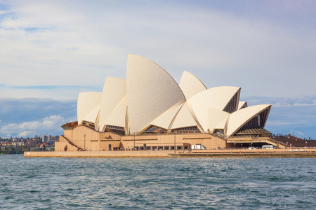 SYDNEY, AUSTRALIA - MAY 20, 2010: With its interlocking roof or shells, Sydney Opera House is Australias most recognisable building and a UNESCO World Heritage Site.