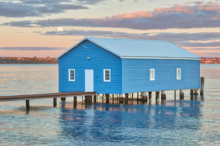 over the edge: Moonrise over Crawley Edge Boatshed, a well-recognized and frequently photographed site in Perth. It is thought to have been constructed in the early 1930s and has since been refurbished.