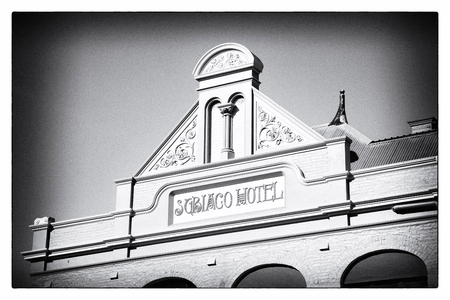 pediment: PERTH, WESTERN AUSTRALIA - JULY 12, 2014: The pediment of Subiaco Hotel in Perth, Western Australia, is a splendid example of the fine colonial architecture of the city.