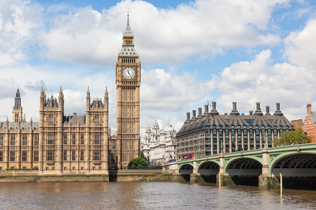 Big Ben is the nickname for the great bell of the clock at the north end of the Palace of Westminster in London and is often extended to refer to the clock and the clock tower. Stock Photo