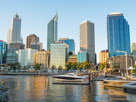 PERTH, AUSTRALIA – MARCH 19, 2017: Elizabeth Quay is a mixed-use development project in the Perth central business district in Australia. Located on the north shore of Perth Water, it is named in honour of Queen Elizabeth II Editorial